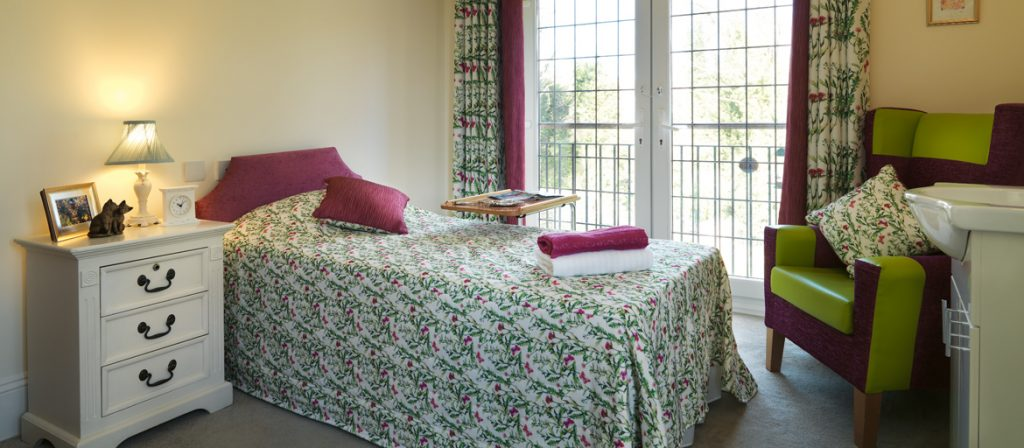 one of the bedrooms at Burnham lodge